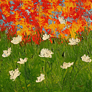 White Poppies thick texture oil painting by artist Fallini