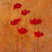 Red Poppies on gold gorgeous modern fine art by contemporary artist Monica Fallini