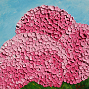 Pink Hydrangeas oil painting on canvas abstract floral art by contemporary artist Monica Fallini