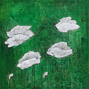White silver Poppies painting on canvas by artist Fallini