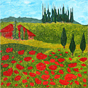 "Tuscan red Poppies landscape gorgeous oil painting unique style 40"" x 40"" by contemporary artist Monica Fallini"