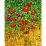 Beautiful oil painting red Poppies impasto by Fallini