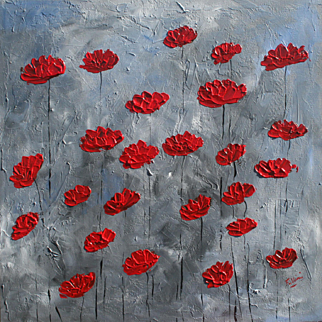 Red Poppies on gray abstract floral modern art unique style by Fallini