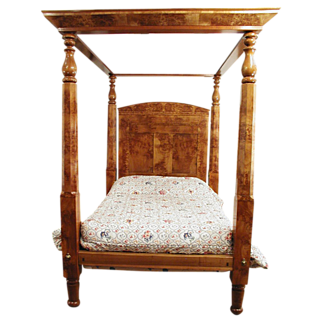 SALE Four Poster Canopy Bed  American c. 1840 Empire Burl Maple