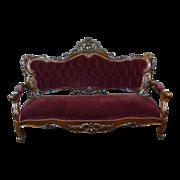 SOLD Sofa American Victorian c. 1860 Rosewood Rococo