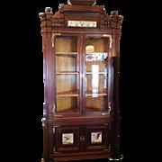 SALE Corner Cupboard Cabinet American Victorian in Walnut c. 1880