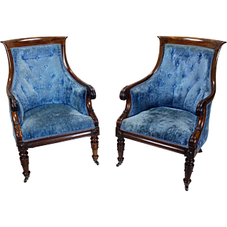 Pair of William IV Bergere Armchairs  English