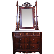 Marble top Chest with Mirror in Rosewood Early American Victorian