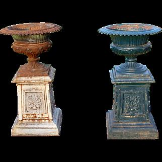 Pair of Garden Urns on Pedestals c. 1890