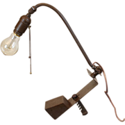 Industrial Table Lamp Adjustable with Dim-A-Lite Socket Patented 1919