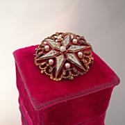 Stunning Krementz 14K Enamel & Pearl Starburst Watch Pin