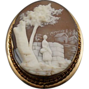 Lovely Scenic Gold Filled Shell Cameo Pin Pendant