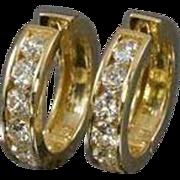 18K 2ctw Diamond Hoop Earrings