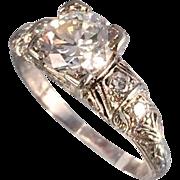 1.18 G/VS2 Carat Art Deco Platinum Diamond Ring GIA Certificate Sz 5.25