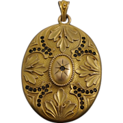 Art Nouveau Gold Filled Floral Oversized Locket