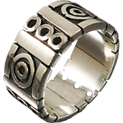 Vintage Los Ballesteros Sterling Modernist Mexican Ring Sz 10