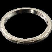 Art Deco Platinum Band Wedding Vintage Ring Sz 5.5
