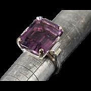 Massive 24.2ct Amethyst 14K Diamond Ring Sz 8.25