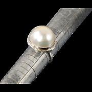 Retro 16mm Mabe Pearl 14k Ring Sz 6.5