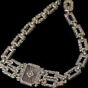 Lovely 14K Art Deco Camphor Glass Bracelet