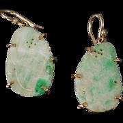 Vintage 14K Natural Jade Earring