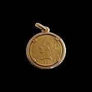 1901 US 10 Dollar Gold Coin 18K Bezel Pendant