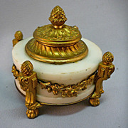 SOLD Antique French  Louis XVI Style Footed Inkwell Alabaster W Mounted Ormolu