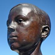 SOLD Artist Dayton Brown 1920 Bronze Bust Of Boy On Marble Stand