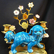 SOLD Antique Louis XVI French Gilt Bronze Ormolu Porcelain Chinese Foo Dog Candle Holder