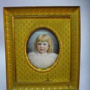 SOLD Antique Mathieu Deroche French Enamel Little Girl Portrait In Gilt Bronze Frame