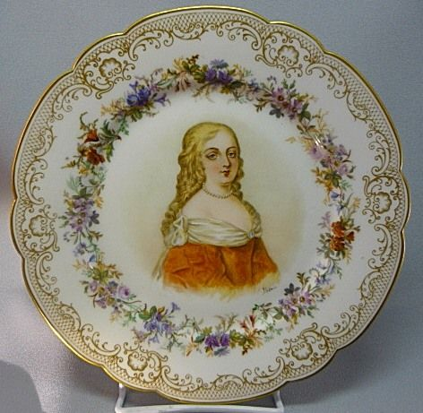 Antique French Sevres Madame Montespan Louis XIV Mistress Plate Hand Painted 1846