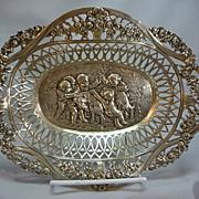Antique Pierced 800 German Silver Repousse Bowl W Cherubs & Goat
