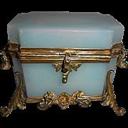 SALE Royal Palais French Opaline Glass Jewelry Casket Box W Bronze Ormolu
