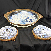 SALE French Art Deco Opalescent Glass Ormolu Bowl W Candleholders Garniture Set