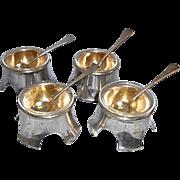 4 Art Nouveau Austrian  800 Silver Salt Cellars W Spoons