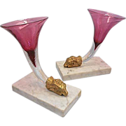 SALE Pr Antique 19th C French Cranberry Glass Cornucopia Bronze Ram Vase