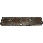 Chinese Silver Plate On Brass Chop Stick Holder Box W Dragons