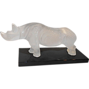 Lalique Art Glass Frosted Rhino Rhinoceros Sculpture France