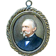 Antique Framed Miniature Portrait Of Man On Porcelain