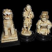 3 Antique German Germany Japanese Porcelain Asian Figurines Carved Ivory Simulation Foo Dog ..