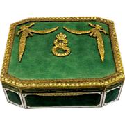REDUCED Old French European Gilt Guilloche Enameled Metal Snuff Trinket Box With E & Crown D