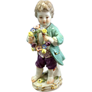 "Old German Meissen Porcelain Figurine Boy With Flower Wreath 5"" Tall Germany"