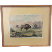 Meyer Strauss Watercolor Painting California Artist Western Buffalo Original