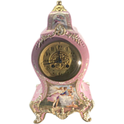 Old Longwy French Pink Porcelain Mantle Clock Hand Painted Panels France Works