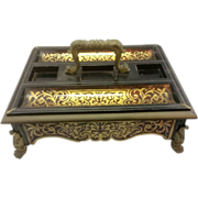 Antique French Empire Napoleon Boulle Inkstand Desk Accessorie W Ormolu Paw Feet Acanthus ...