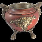 SALE Antique European Mixed Metal Claw Ball Foot Potpourri Incense Burner W Caryatid Cherubs B