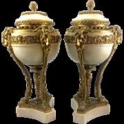 Pair Antique French Louis XVI Marble Gilt Bronze Ormolu Brule Parfum Urns Rams Goats Head Hoov