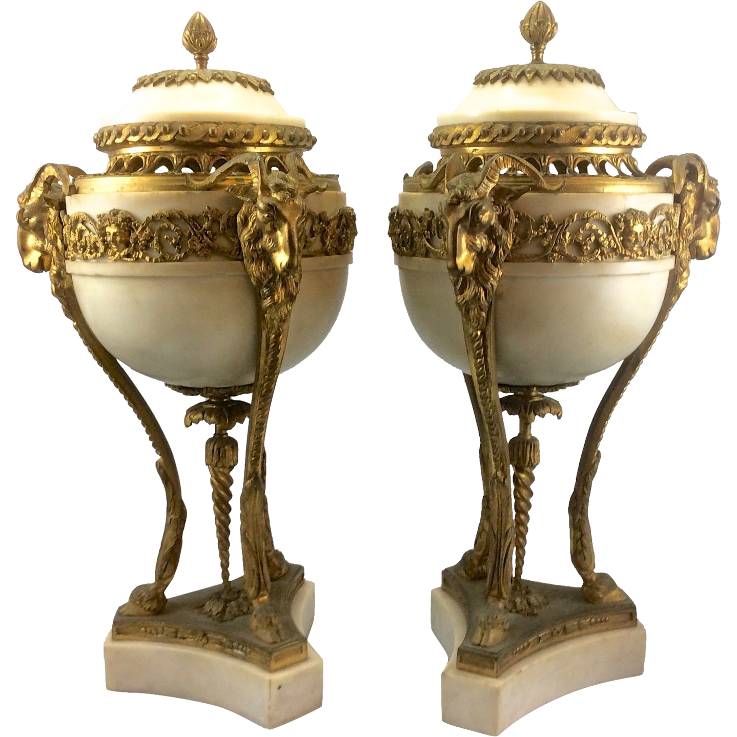 Pair Antique French Louis Xvi Marble Gilt Bronze Ormolu