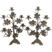 Antique Pair French Brass Metal Jeweled Gothic Cathedral Candelabra Acanthus Leaf Base