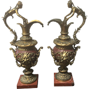 SALE Pair Antique French Gilt Bronze Rouge Red Marble Ewers Urns W Caryatids Bacchus Mask Grif